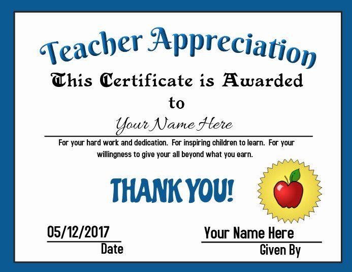Teacher Appreciation Certificate Template Inspirational Teacher Appreciation Award T Teacher Appreciation Printables Teacher Appreciation Teacher Certification