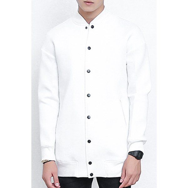Loose-Fitting Stand Collar Rib Splicing Long Sleeve Lengthen Men's Baseball Jacket #CLICK! #clothing, #shoes, #jewelry, #women, #men, #hats, #watches