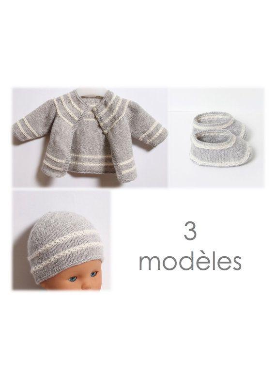 Ensemble bébé / 3 Modèles / Explications tricot en français / PDF Téléchargement Instantané