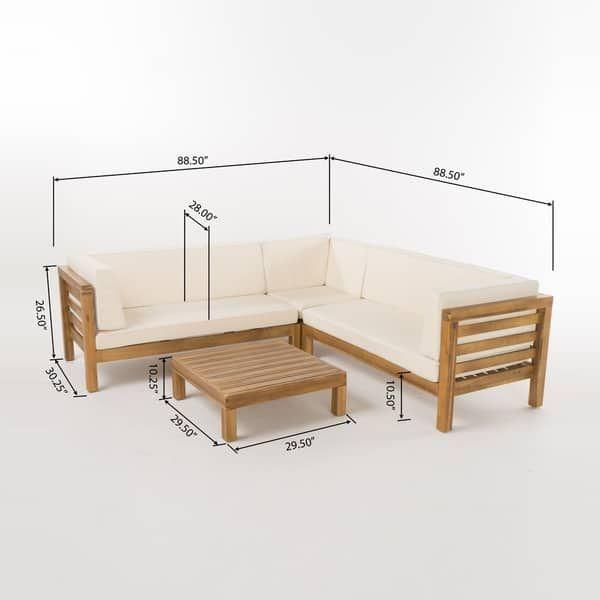 Oana Outdoor 5 Seater V Shaped Acacia Wood Sectional Sofa Set With Coffee Table By Christopher Knight Home Em 2020 Design De Sofa Ideia Moveis Mobiliario Com Paletes De Madeira
