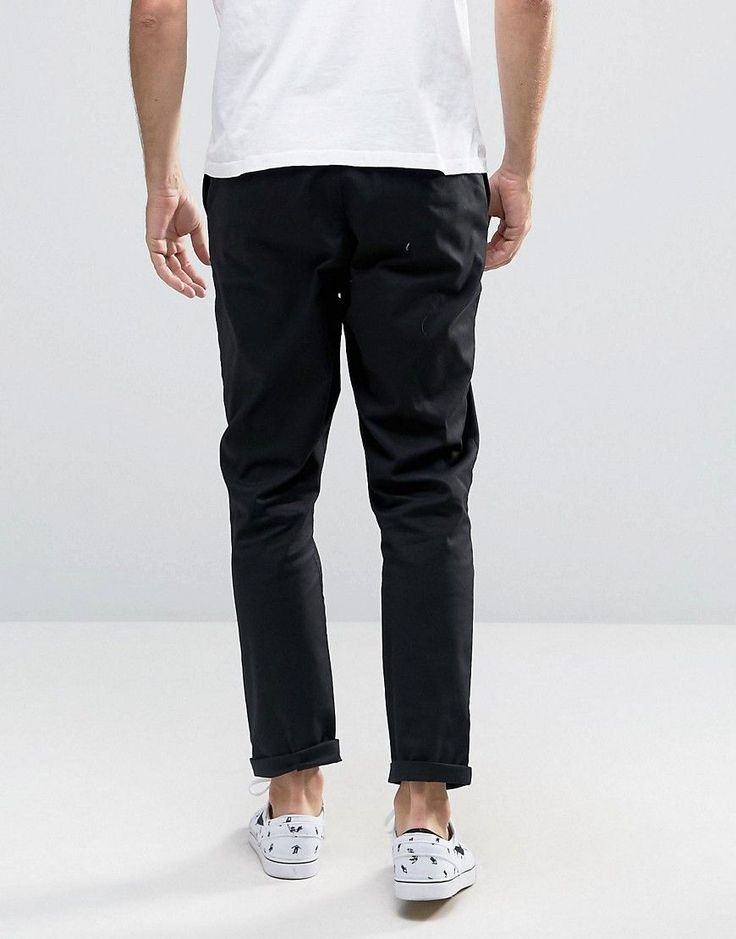 ASOS TALL Tapered Chinos In Black - Black