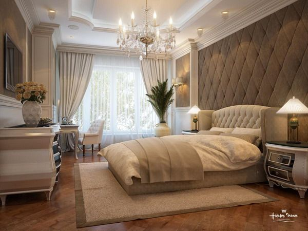Elegant, luxurious master bedroom decor ideas. I could do without the tufted wall though-- I'd substitute it with a nice neutral damask wallpaper!