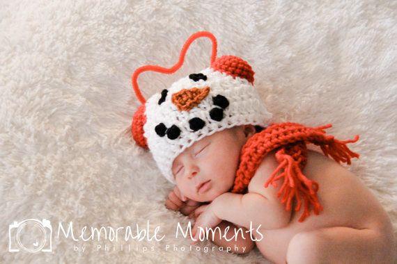 Newborn Snow Boy Set Photo Prop snowman hat by LNoelDesigns
