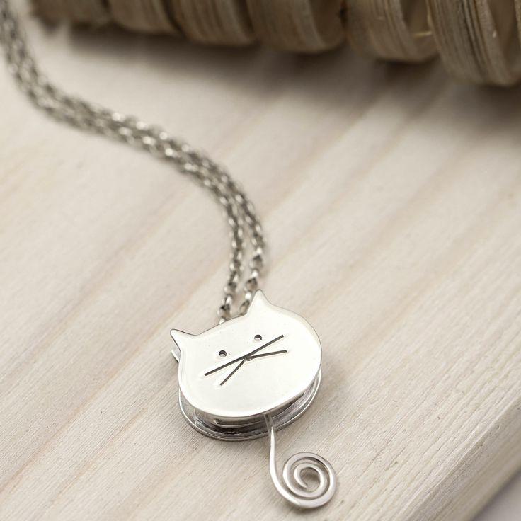 Collar de plata esterlina para gatos con columpios colgantes