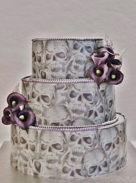 Hand painted Skull Wedding Cake with purple Callas ~ all edible.  Not sure I'd pick this for a wedding cake, but the artistry is amazing!