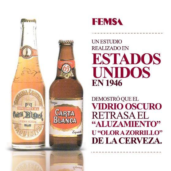 """A principios del siglo XX, se decía que la cerveza en botella clara, expuesta al sol, se """"azorrillaba"""", es decir, desarrollaba el olor característico en el zorrillo.  En 1948 don Eugenio Garza Sada tomó la decisión de usar la botella ámbar para preservar la calidad de la cerveza."""