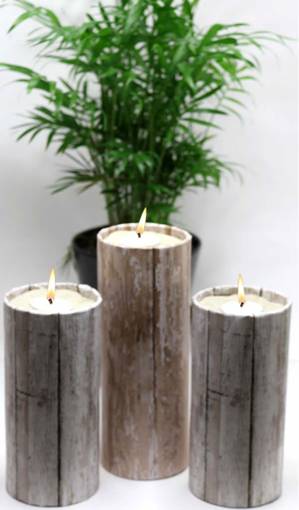 DIY Dollar Store Crafts! Dollar Store Hacks – Decor Projects – Rustic Wood Candle Holders {Easy & Quick}
