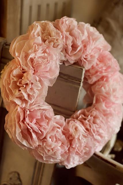 paper flower wreath.....adorable!