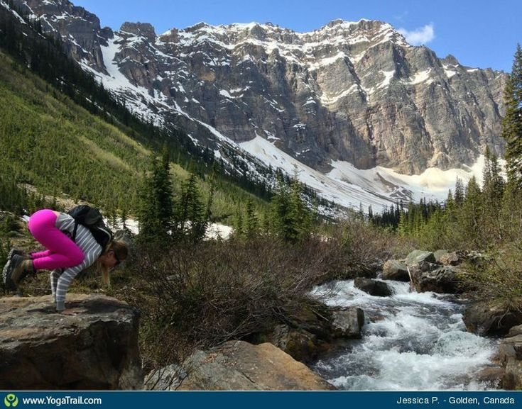 """#Yoga Poses Around the World: """"Crow Pose taken in Golden, Canada by Jessica P."""""""