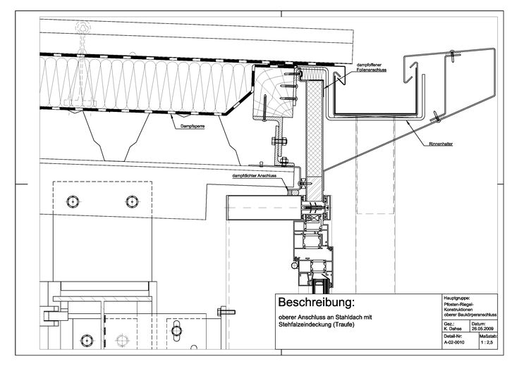 A-02-0010 Anschluss an Stahldach mit Stehfalzeindeckung (Traufe)-A-02-0010