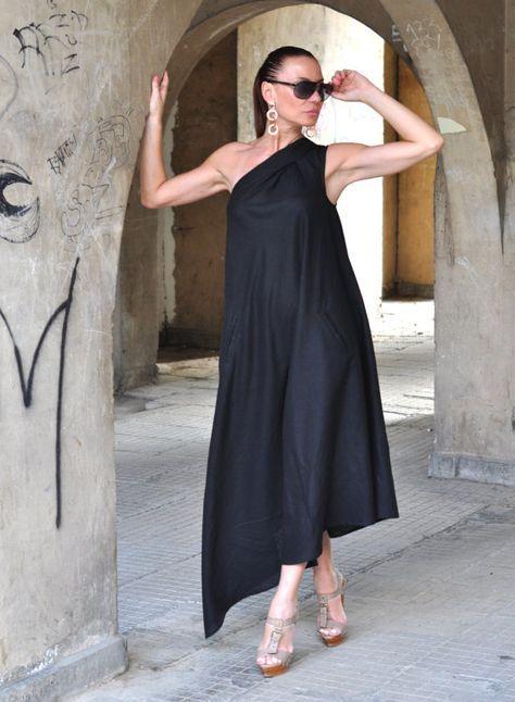 56c5eef64f XXLXXXL Maxi Dress   Black Kaftan Linen Dress   One by EUGfashion ...