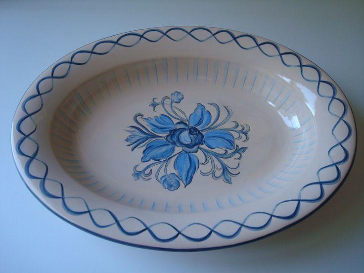 blue rose oval bowl
