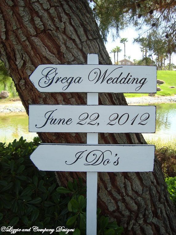 Wedding Sign  I Do'S Sign  DiReCTioNaL WeDDiNg by lizzieandcompany