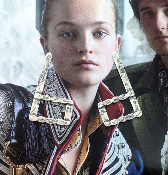 Geometric Drop Earrings  Large Silver Earrings  Post by SilverEdit
