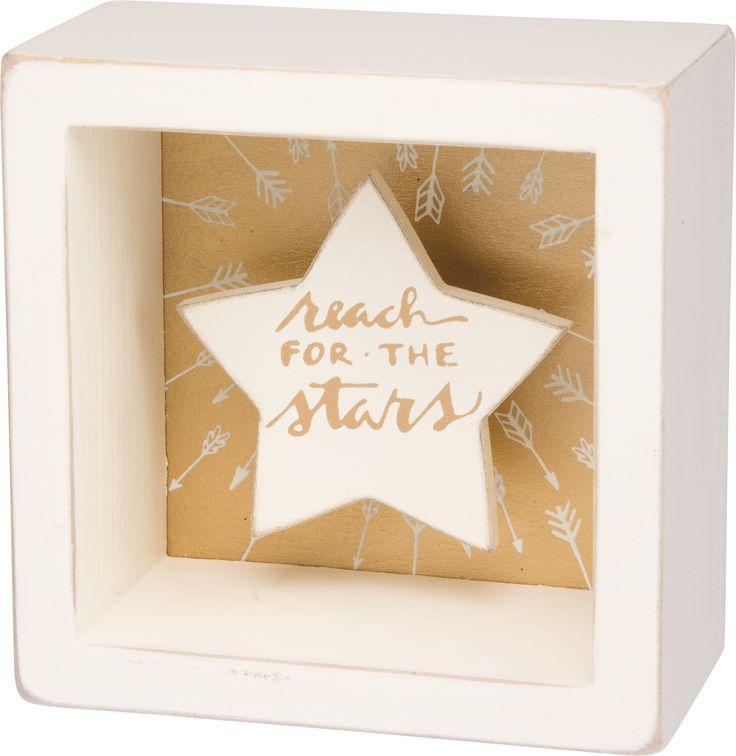 Reach For The Stars - White Star Shadowbox Box Mini Box Sign - 3-1/2-in