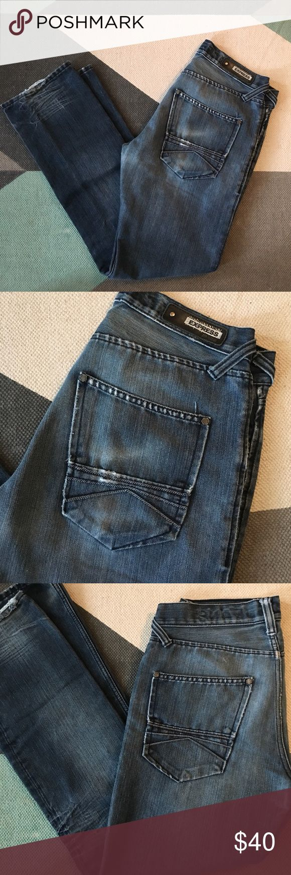 Express men's jeans 30x32 Express men's jeans with distressing at back of legs and bottom. Button fly. Slight ripping at pockets and bottom as shown. Express Jeans Slim Straight