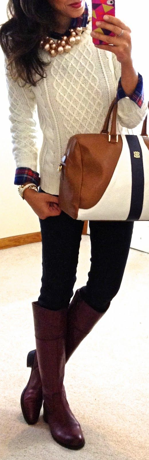 Plaid button-up, cable knit sweater, chunky pearls, boots, & Angel Reinares Bobal satchel