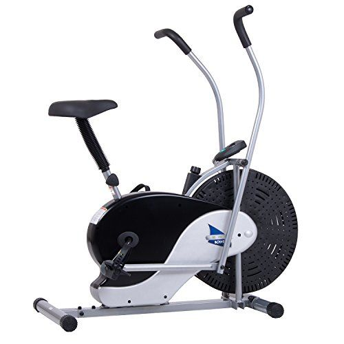 Body Rider Exercise Upright Fan Bike (with UPDATED Softer Seat) Stationary Fitness / Adjustable Seat - BRF700 Features: -Dual action fan bike for upper and lower body workout. -Adjustable seat height. -Manual tension control - easily adjust with the turn of a knob. -High momentum fan blades produce a gentle breeze as you exercise. Bike Type: -Indoor cycling bike. Finish: -Black and silver. Materia...