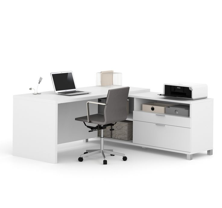 premium modern lshaped desk in white