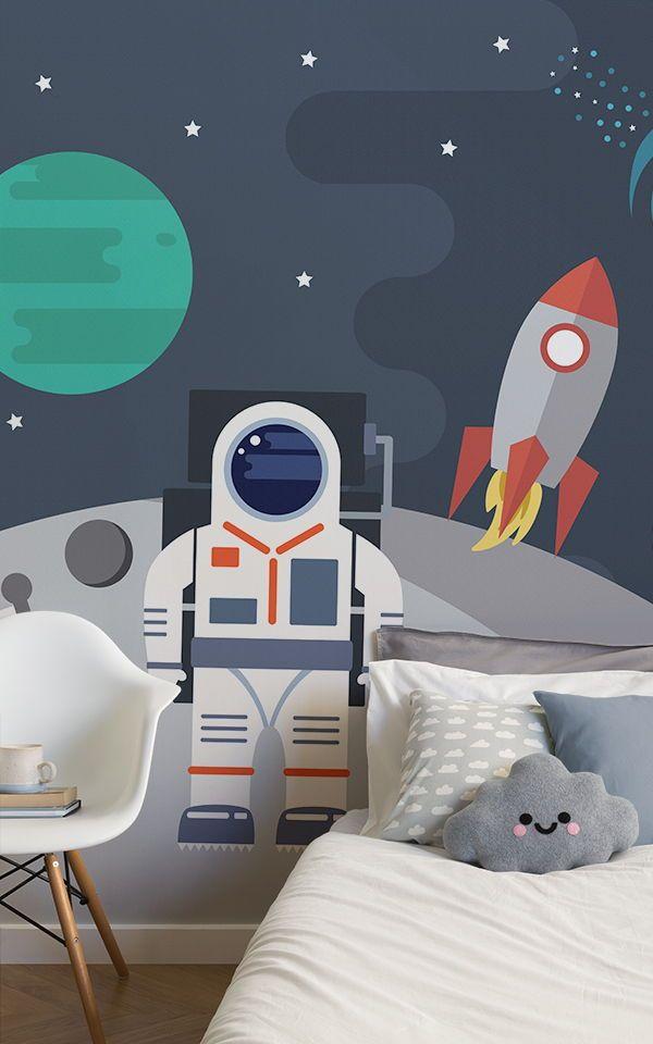 Retro Astronaut Wallpaper Mural Muralswallpaper Mit Bildern