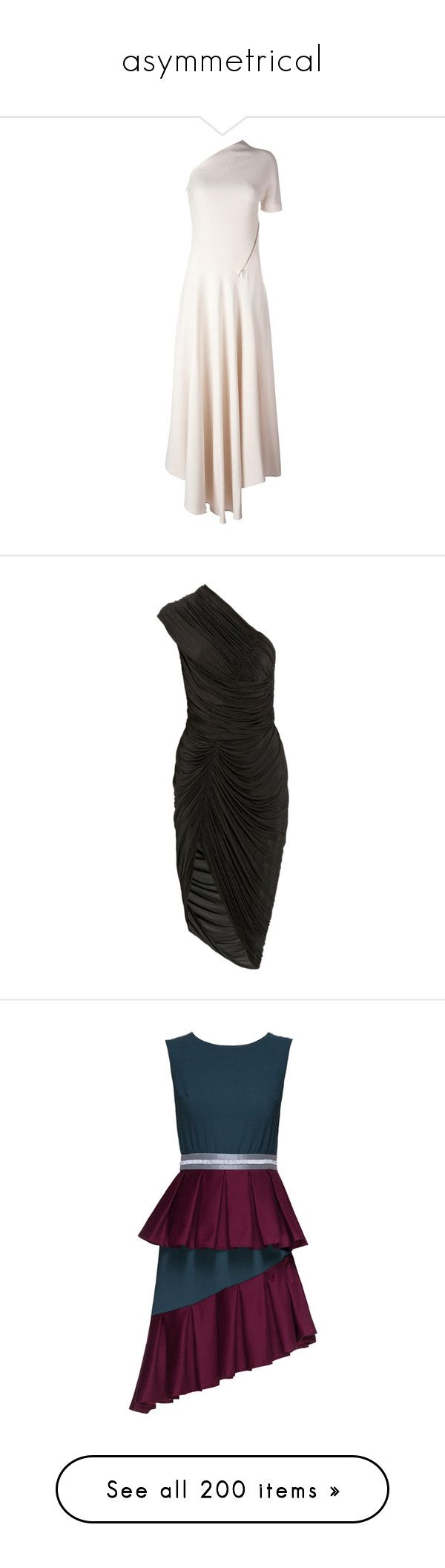 """asymmetrical"" by jeniferkcarsrud ❤ liked on Polyvore featuring dresses, nude, off one shoulder dress, one shoulder pleated dress, stella mccartney dress, pleated dress, one sleeve short dresses, black, asymmetrical neckline dress and cocktail draped dress"