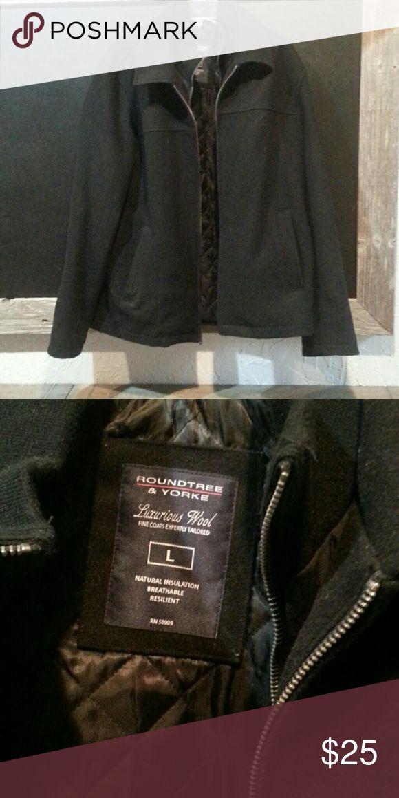 Wool Coat MENS Black wool coat Roundtree & Yorke Jackets & Coats Pea Coats