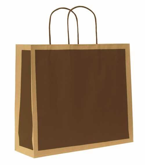 Papírová taška RETRO. Hnědý tisk na hnědém recyklovaném papíru 110g, horní přehyb. Hnědá kroucená papírová držadla. Vhodné pro dotisk sítotiskem. http://shop.svettasek.cz/eshop2/Katalog.aspx?nadskupina=K23