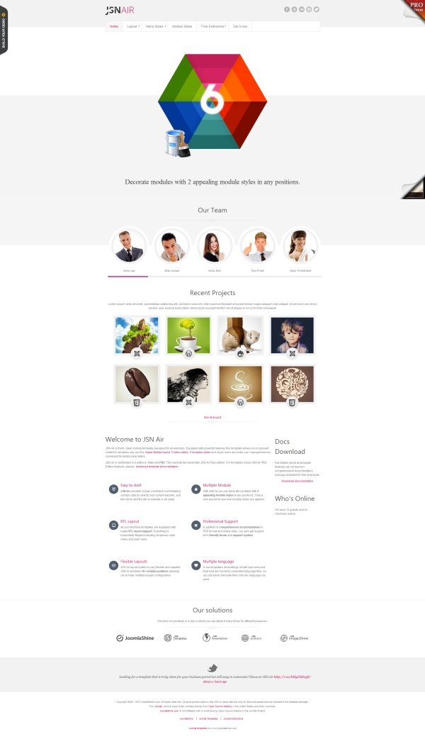 """""""JSN Air""""  - clean, #free Joomla 2.5 & 3.0 template. Easy to #customize."""