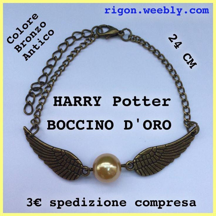 BRACCIALETTO HARRY POTTER BOCCINO D ORO BRONZO ANTICO 3€ Spedizione Compresa ALI
