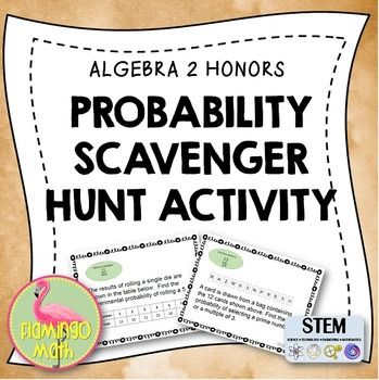 Algebra 2: Probability Scavenger Hunt This activity is designed to help your Algebra 2 students understand permutations, combinations, theoretical and experimental probability, independent and dependent events, two-way tables, conditional probability, and compound events at the end of the unit on Probability. There are 12 task cards in the activity.