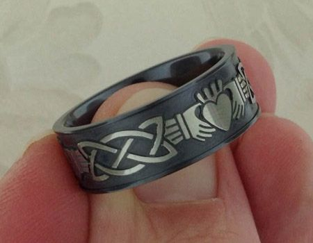 Claddagh Wedding Ring In Black Zirconium Claddagh Pinterest