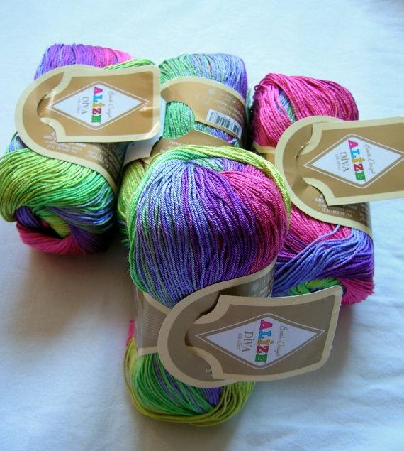 Multicolor Yarn Selfstriping Alize Diva Batik Silk Effect