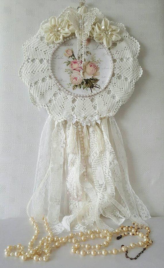 Dream Catcher , Crochet Doilie Dreamcatcher , Crochet Doilie Dream Catcher , Wall Hanging , Hoop Art , Shabby Chic Wall Decor , Wallhanging