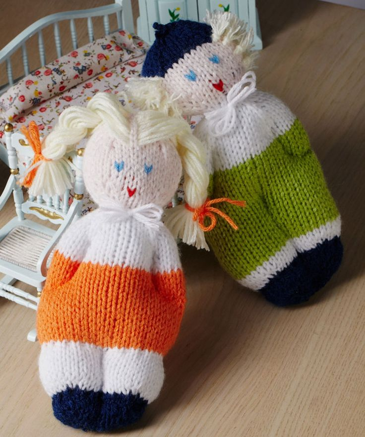 The perfect size for little hands, these clever dolls are easy to knit and wonderful to give. Use acrylic yarn and polyester filling so they are washable and easy to keep clean for baby.