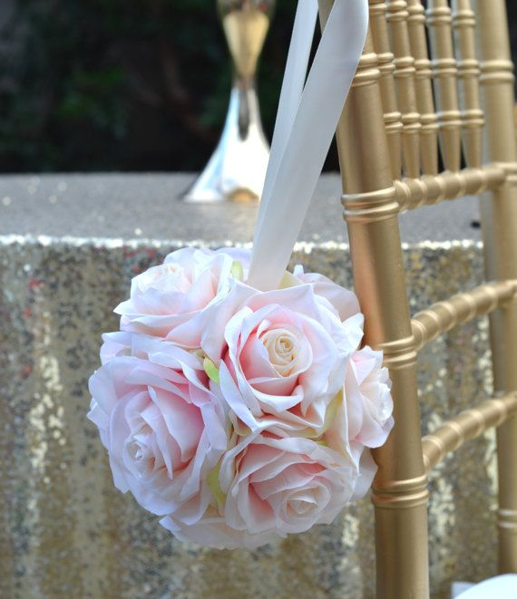 PINK BLUSH Flower Ball. With Pearl or Ribbon by KimeeKouture