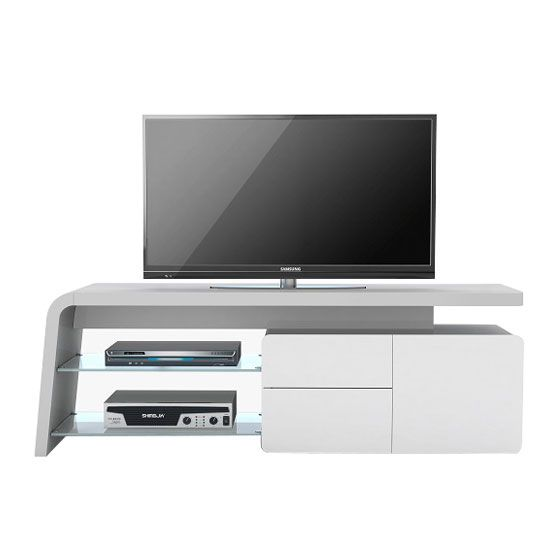 Ruskin LCD TV Stand In Platinum Grey And White Glass Fronts