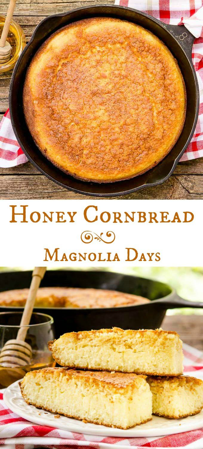 Honey Cornbread is buttery, lightly sweet, moist on the inside, and crisp on the outside. Serve it with BBQ, chili, greens, ham, and more.