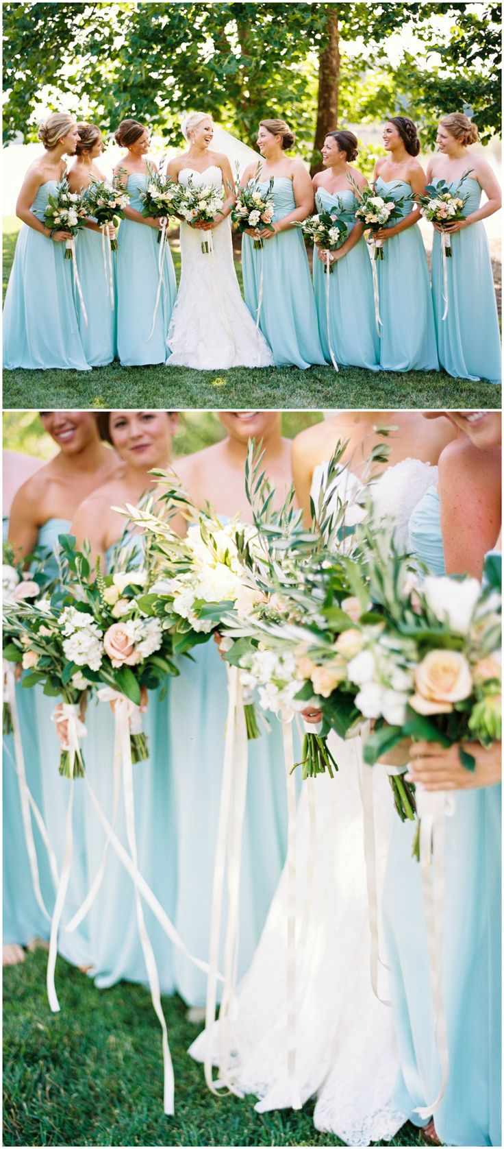 Aqua bridal party, long strapless bridesmaid dresses, peach and white floral wedding bouquets, Southern wedding // JoPhoto