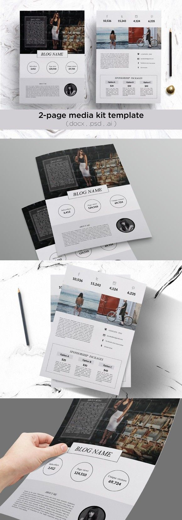 2 page media kit template. Stationery Templates. $15.00