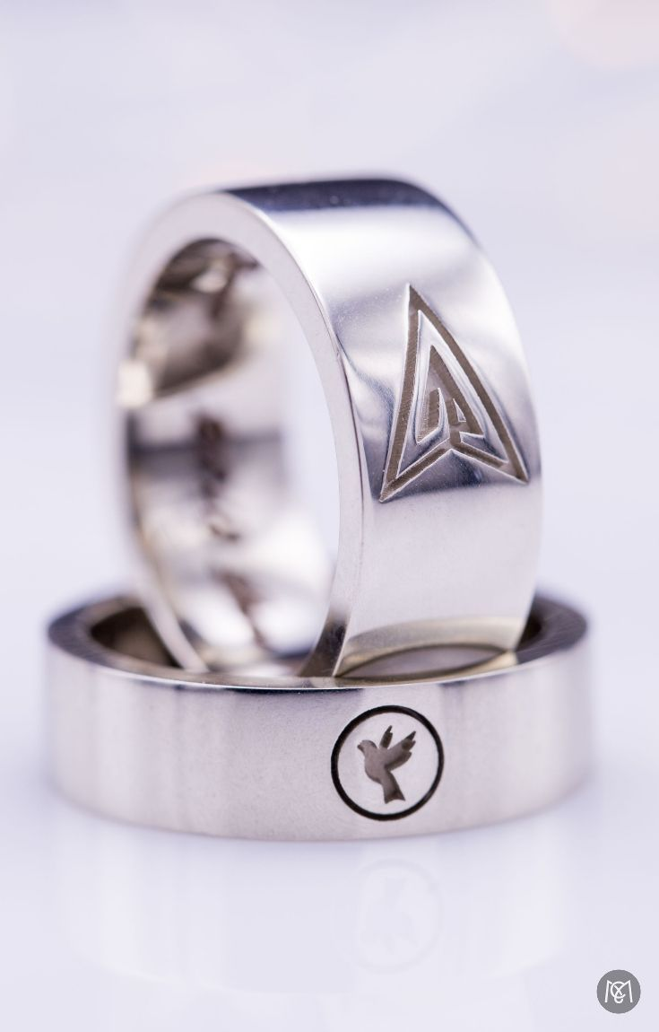 White Gold Wedding Bands With The Symbols Of Their Favorite Dc Comic