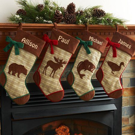 Personalized Rustic Woodland Christmas Stocking Available In Different Animal's