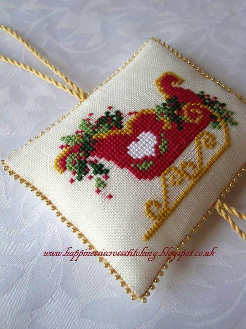 Christmas sleigh cross stitch More