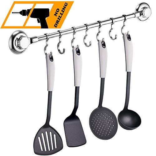 From 24.99 Maxhold No-drilling/suction Cup Steel Towel/utensil Rack With 7 Adjustable Hooks - Vaccum System - Stainless Steel Never Rust - For Bathroom & Kitchen