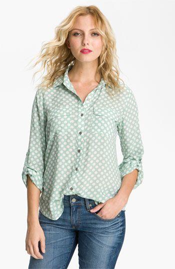 Gibson Polka Dot Pocket Shirt Mint Medium
