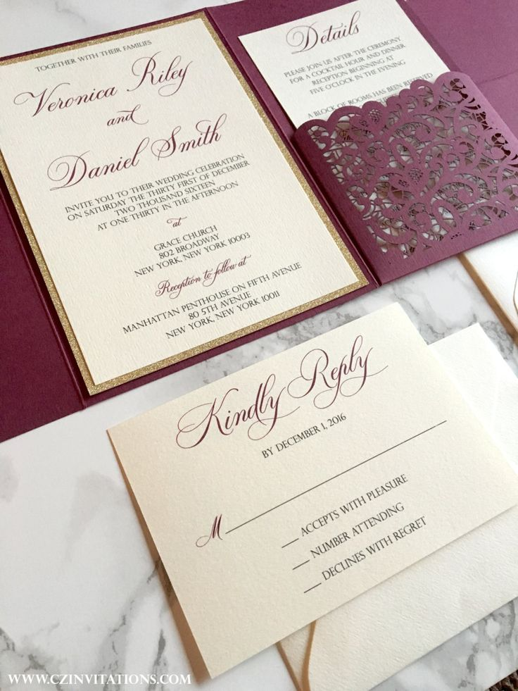 funny wedding invitation rsvp goes viral%0A Laser Cut Pocket Wedding Invitation  Burgundy and Gold Glitter Wedding  Invitation  Marsala Invitation