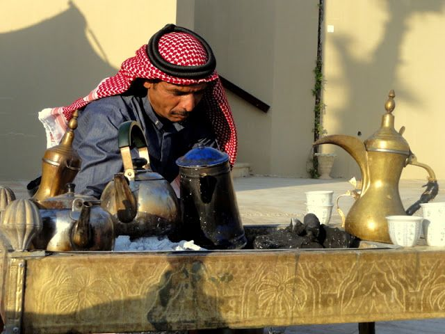 This Jordanian man is making tea for us at the Dead Sea.