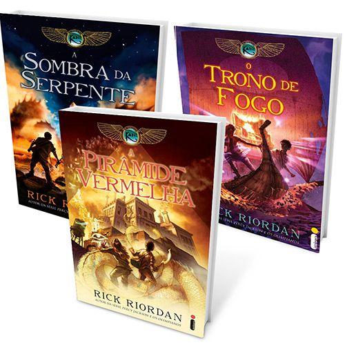 As Crônicas dos Kane de Rick Riordan: A Pirâmide Vermelha; O Trono de Fogo; A Sombra da Serpente; Guia de Sobrevivência (livro complementar)