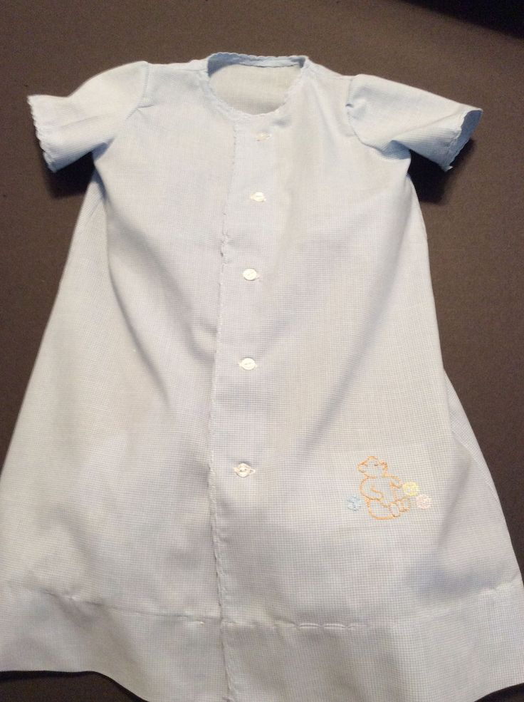 Baby boy's day gown. Tiny check blue and white gingham.  Small teddy bear embrodiery.  Small  scallops trim out edges of gown. by sosewfancy on Etsy