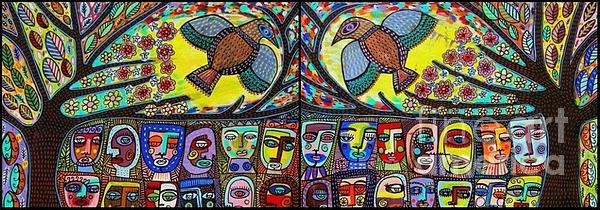 Tree Of Life People and Talavera Love Birds Painting