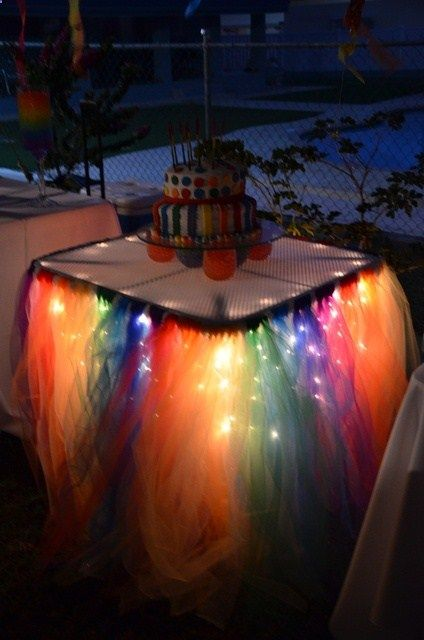 Rainbow Tulle Party Table: knot strips of tulle around a ribbon, tape to table edge. Use twinkle lights underneath for a nighttime party! Cute for a birthday, shower, or St. Patricks Day.